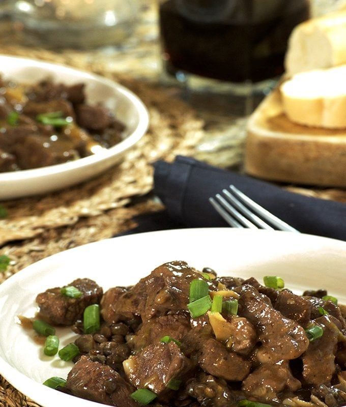 Instant Pot Ginger-Soy Beef Stew over Lentils