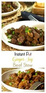 This instant pot beef stew is made with fresh ginger, garlic and green onions and served over a bed of letnils that are cooked in a ginger and garlic chicken broth. The entire meal is cooked in the insant pot and makes for a great weeknight family dinner or is perfectly suitable for a special dinner with guests.