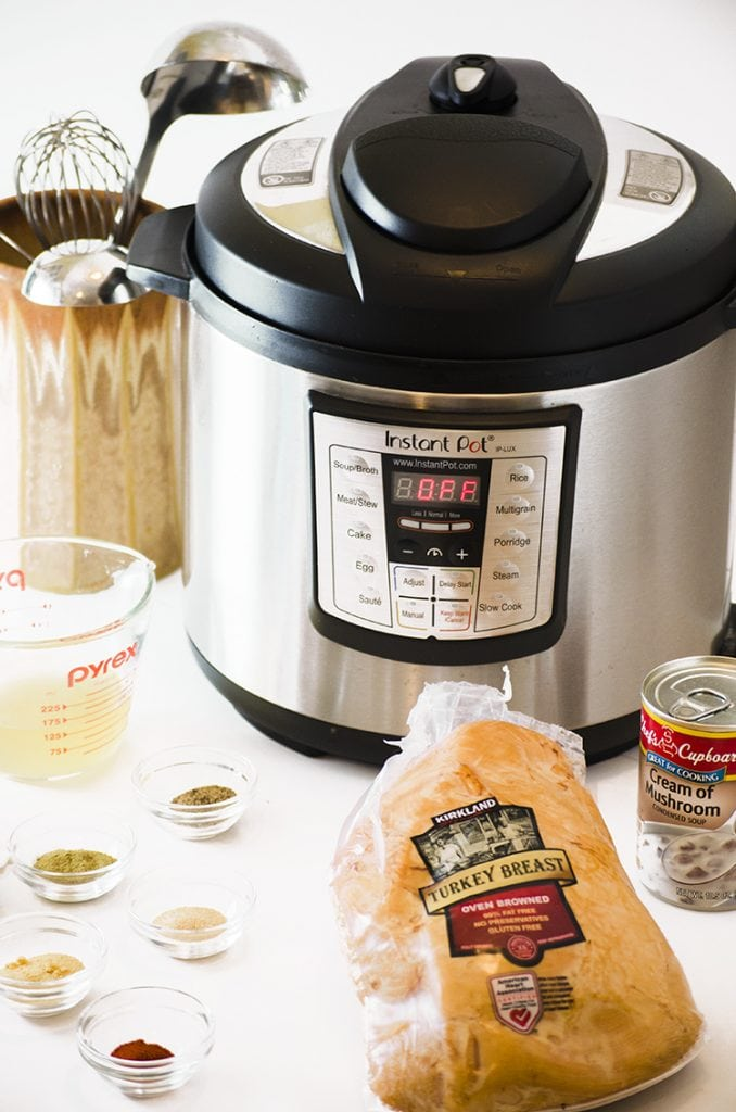 Ingredients for instant pot hot turkey sandwiches